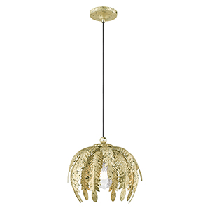 Acanthus Winter Gold 13-Inch One-Light Mini Pendant with Acanthus Shaped Winter Gold Metal Shade
