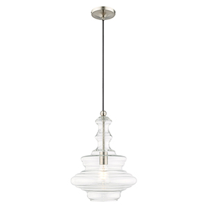 Art Glass Mini Pendants Brushed Nickel 13-Inch One-Light Mini Pendant