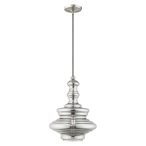 Aragon Polished Chrome One-Light Ceiling Mount with Hand Blown Clear Seeded Glass