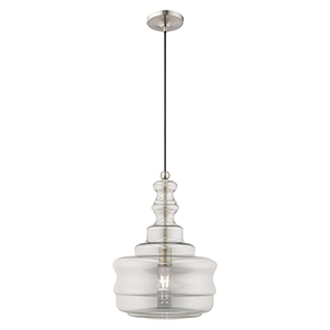 Art Glass Mini Pendants Brushed Nickel 13-Inch One-Light Mini Pendant with Smoke Glass