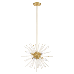 Utopia Satin Brass Six-Light Pendant Chandelier