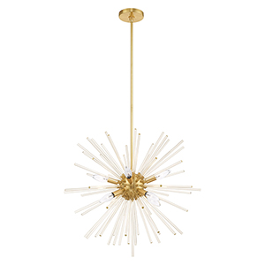 Utopia Satin Brass Eight-Light Pendant Chandelier