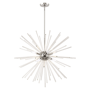 Utopia Polished Chrome 34-Inch Eight-Light Pendant Chandelier with Clear Crystal Rods