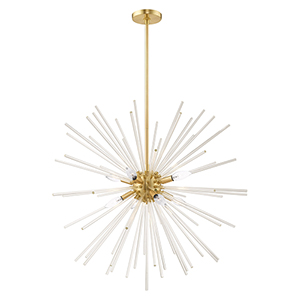Utopia Satin Brass 34-Inch Eight-Light Pendant Chandelier with Clear Crystal Rods