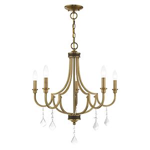 Glendale Antique Brass Five-Light Chandelier