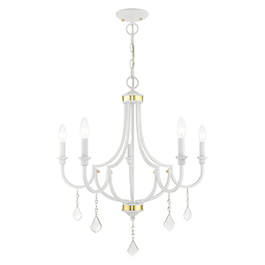 Glendale White Five-Light Chandelier