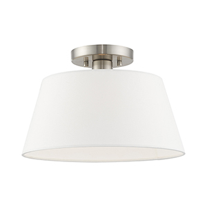 Belclaire Brushed Nickel 13-Inch One-Light Ceiling Mount with Hand Crafted Off-White Hardback Shade