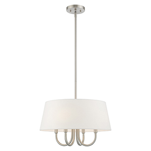 Belclaire Brushed Nickel 18-Inch Four-Light Pendant Chandelier with Hand Crafted Off-White Hardback Shade