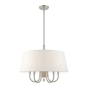 Belclaire Brushed Nickel 24-Inch Six-Light Pendant Chandelier with Hand Crafted Off-White Hardback Shade