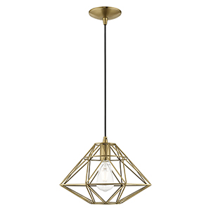 Geometric Shade Mini Pendants Antique Brass 14-Inch One-Light Mini Pendant with Antique Brass Geometric Metal Shade