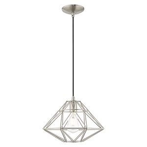 Geometric Shade Mini Pendants Brushed Nickel 14-Inch One-Light Mini Pendant with Brushed Nickel Geometric Metal Shade