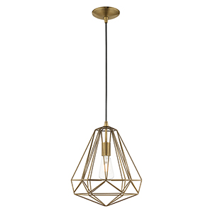 Geometric Shade Mini Pendants Antique Brass 13-Inch One-Light Mini Pendant with Antique Brass Geometric Metal Shade