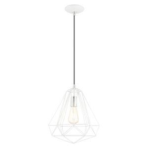 Geometric Shiny White One-Light Pendant