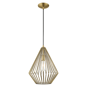 Geometric Shade Mini Pendants Antique Brass 12-Inch One-Light Mini Pendant with Antique Brass Geometric Metal Shade