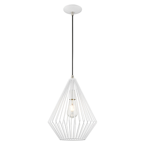 Geometric Shade Mini Pendants White 12-Inch One-Light Mini Pendant with White Geometric Metal Shade