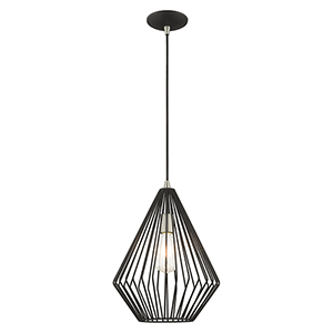 Geometric Shade Mini Pendants Black 12-Inch One-Light Mini Pendant with Black Geometric Metal Shade