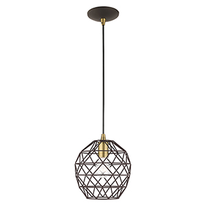 Geometric Shade Mini Pendants Bronze Eight-Inch One-Light Mini Pendant with Bronze Geometric Metal Shade