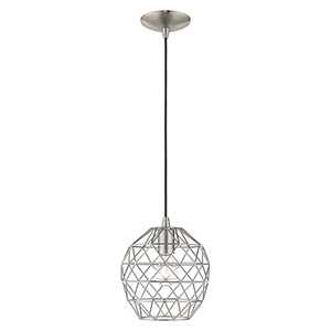 Geometric Shade Mini Pendants Brushed Nickel Eight-Inch One-Light Mini Pendant with Brushed Nickel Geometric Metal Shade