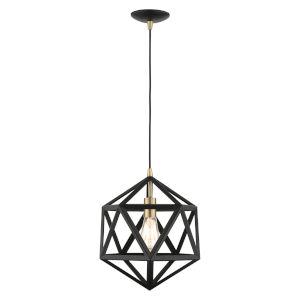 Geometric Textured Black One-Light Pendant
