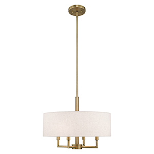 Meridian Antique Brass 18-Inch Four-Light Pendant Chandelier with Hand Crafted Oatmeal Hardback Shade