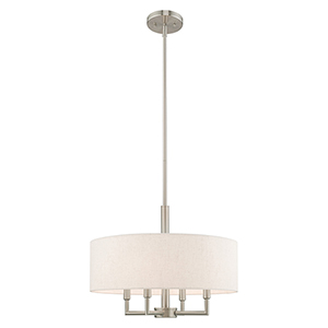 Meridian Brushed Nickel 18-Inch Four-Light Pendant Chandelier with Hand Crafted Oatmeal Hardback Shade
