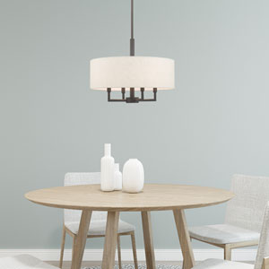 Meridian English Bronze 18-Inch Four-Light Pendant Chandelier with Hand Crafted Oatmeal Hardback Shade
