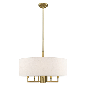 Meridian Antique Brass 24-Inch Six-Light Pendant Chandelier with Hand Crafted Oatmeal Hardback Shade