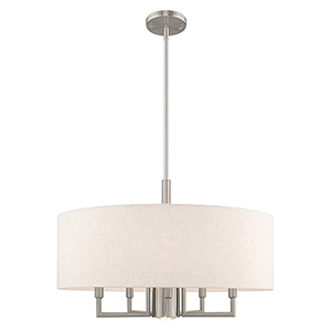 Meridian Brushed Nickel 24-Inch Six-Light Pendant Chandelier with Hand Crafted Oatmeal Hardback Shade
