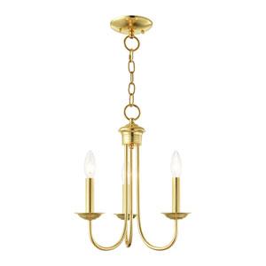 Estate Polished Brass Three-Light Chandelier