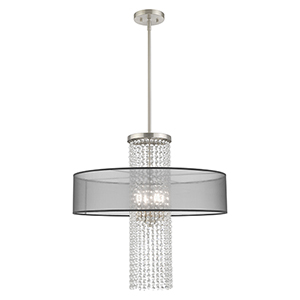 Bella Vista Brushed Nickel Four-Light Pendant Chandelier