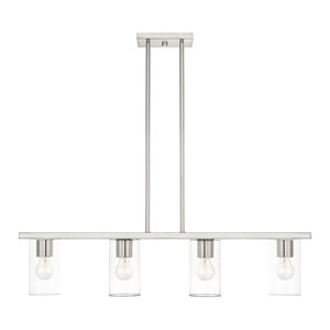 Zurich Brushed Nickel Four-Light Linear Chandelier