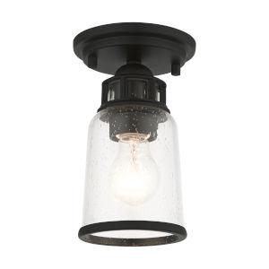 Lawrenceville Black One-Light Flush Mount
