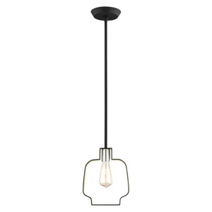 Meadowbrook Black and Brushed Nickel 8-Inch One-Light Mini Pendant