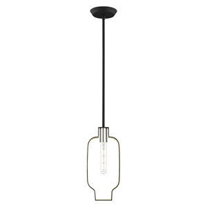 Meadowbrook Black and Brushed Nickel 7-Inch One-Light Mini Pendant