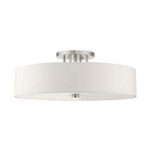 Meridian Off White 30-Inch Six-Light Semi-Flush Mount