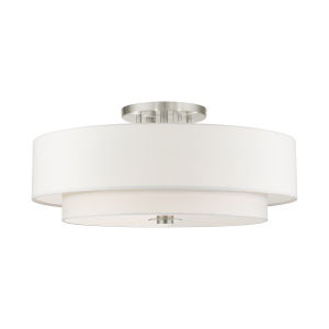 Meridian Brushed Nickel Off White 30-Inch Six-Light Semi-Flush Mount