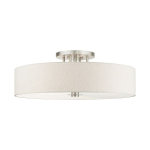 Meridian Oatmeal 30-Inch Six-Light Semi-Flush Mount