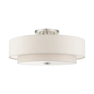 Meridian Brushed Nickel Oatmeal 30-Inch Six-Light Semi-Flush Mount