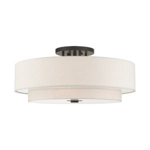 Meridian English Bronze Six-Light Semi-Flush Mount