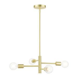 Bannister Satin Brass Four-Light Chandelier