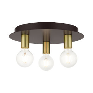 Hillview Bronze Three-Light Flush Mount
