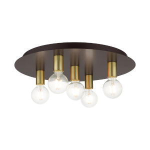 Hillview Bronze Five-Light Flush Mount