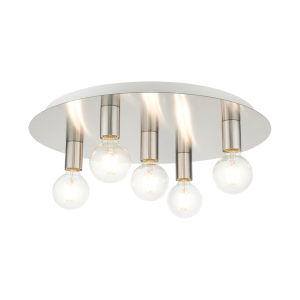 Hillview Brushed Nickel Five-Light Flush Mount