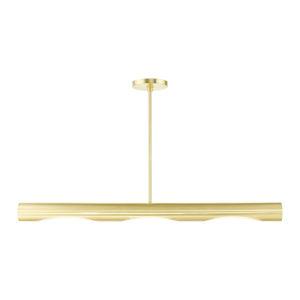 Novato Satin Brass Three-Light Linear Chandelier