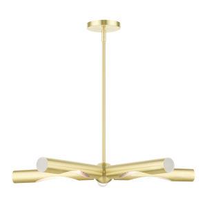 Acra Satin Brass Five-Light Chandelier