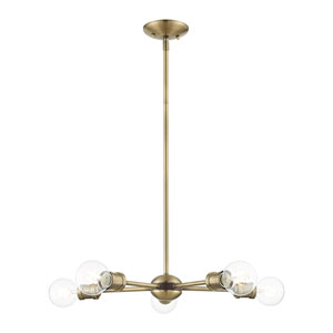 Lansdale Antique Brass and Bronze Five-Light Chandelier