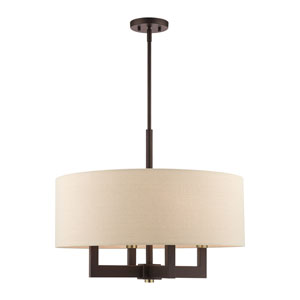 Cresthaven Bronze and Antique Brass 24-Inch Four-Light Chandelier
