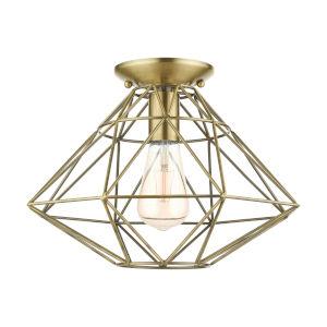 Geometric Antique Brass One-Light Flush Mount
