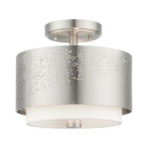 Noria Brushed Nickel Two-Light Semi-Flush Mount