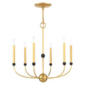 Cortlandt Natural Brass and Bronze Six-Light Chandelier